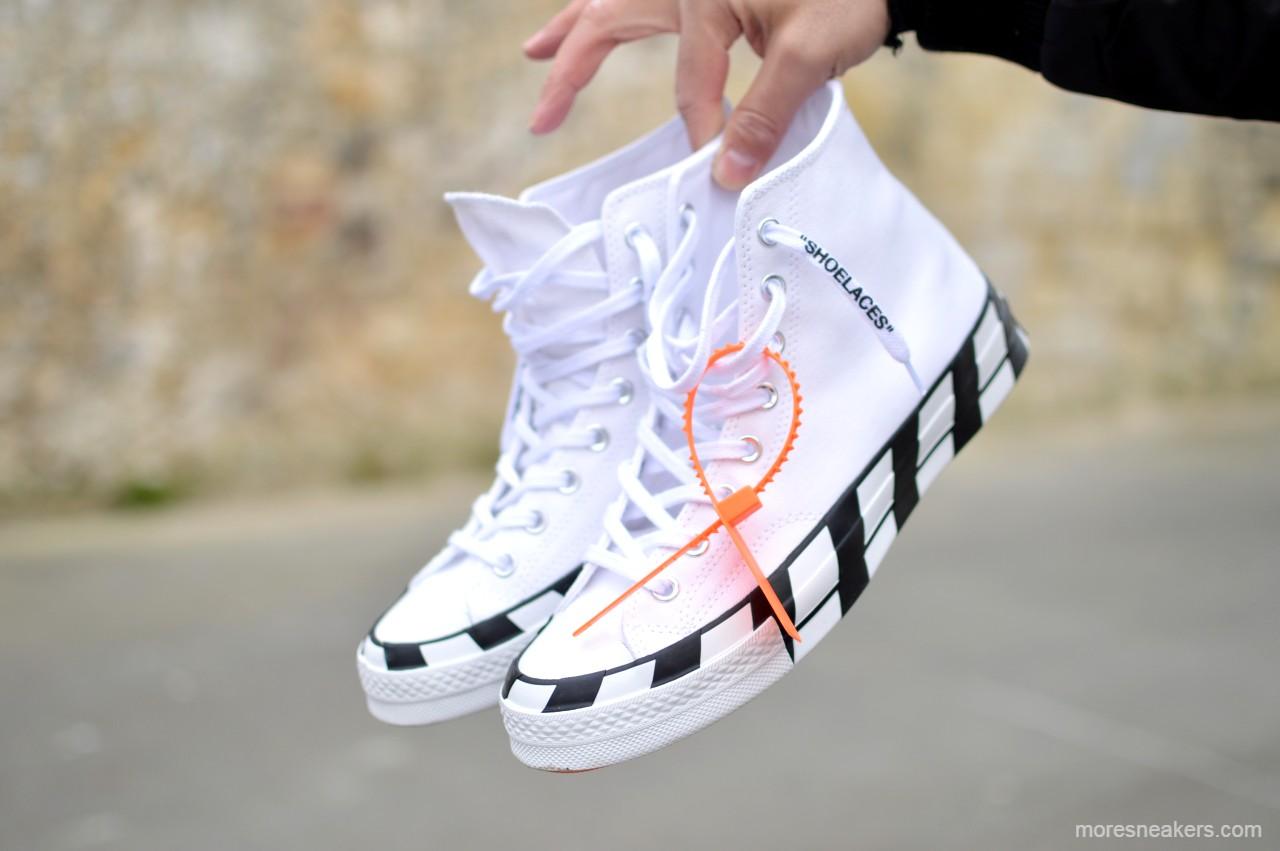 Focus on the Off-White x Converse Chuck 70 High Stripe White Cone Black