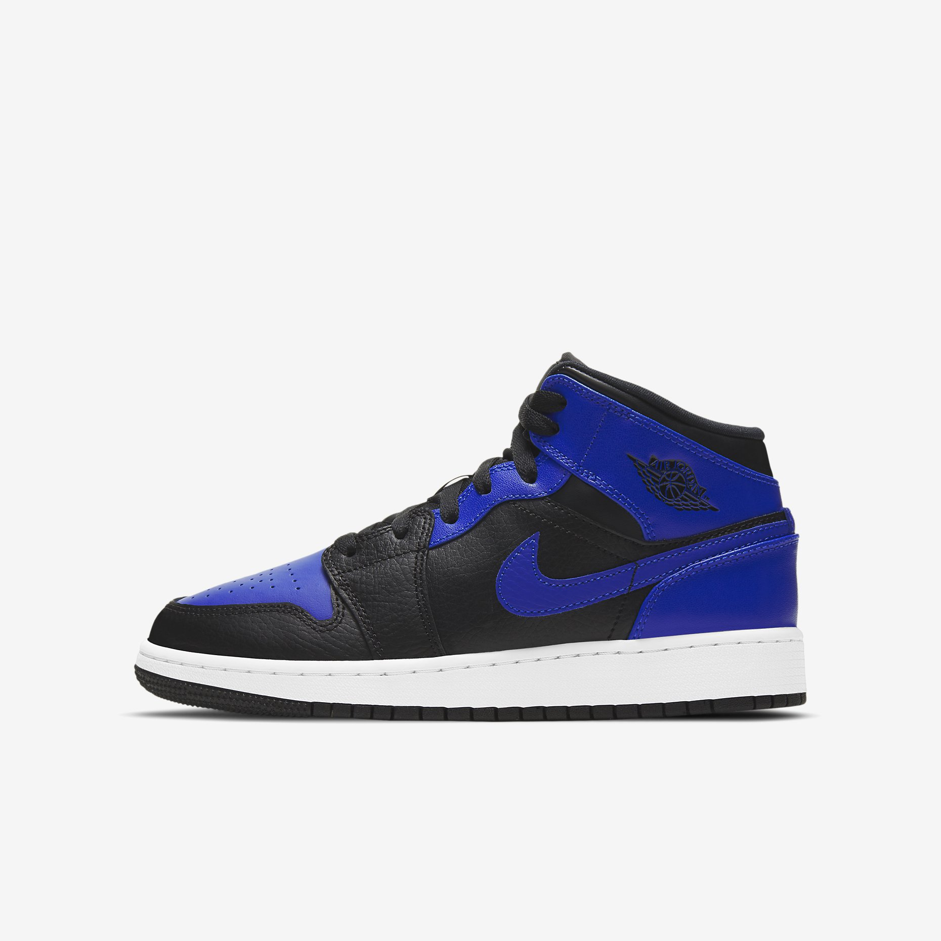 Air Jordan 1 Mid GS 'Black/Hyper Royal'}