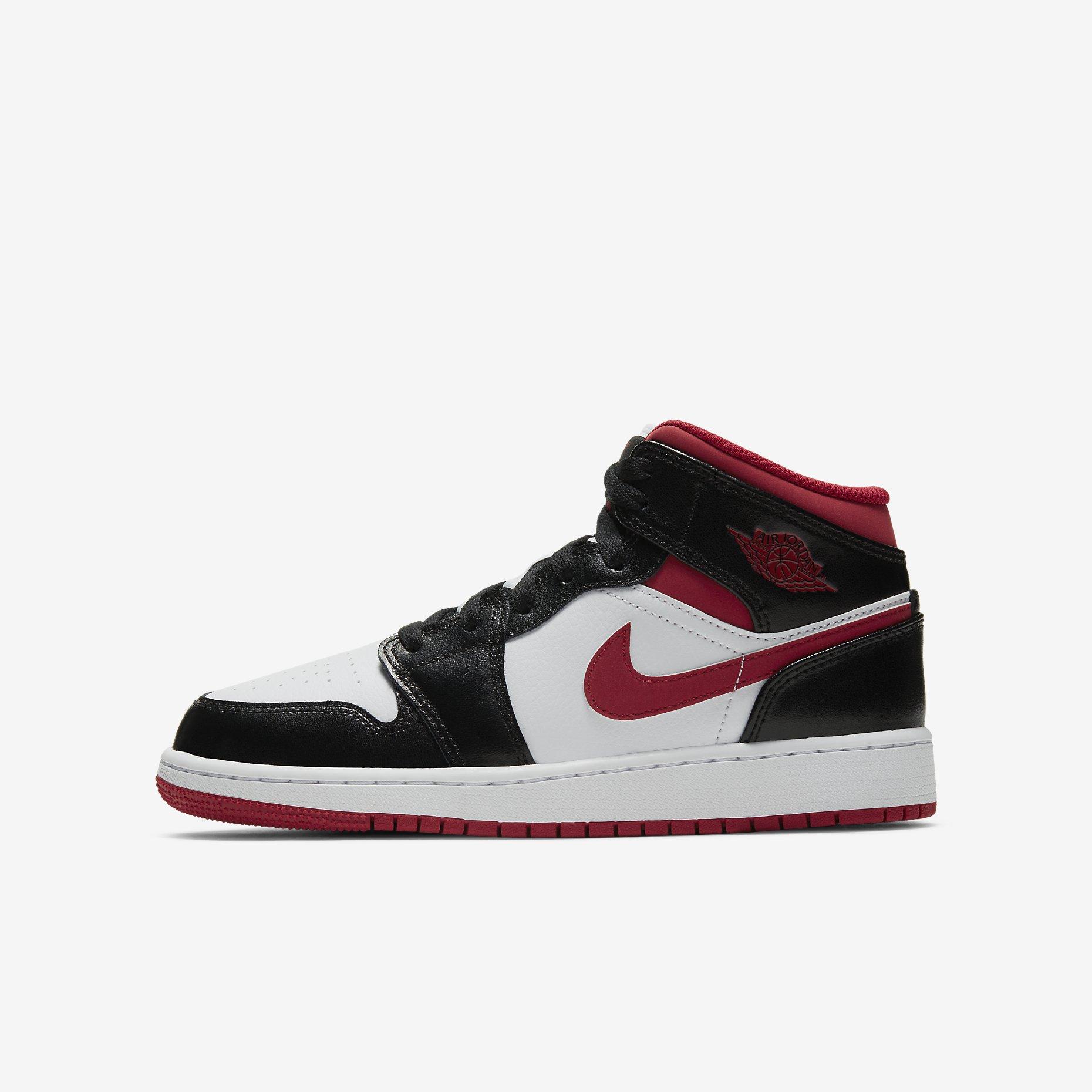 Air Jordan 1 Mid GS 'Gym Red Black White'}