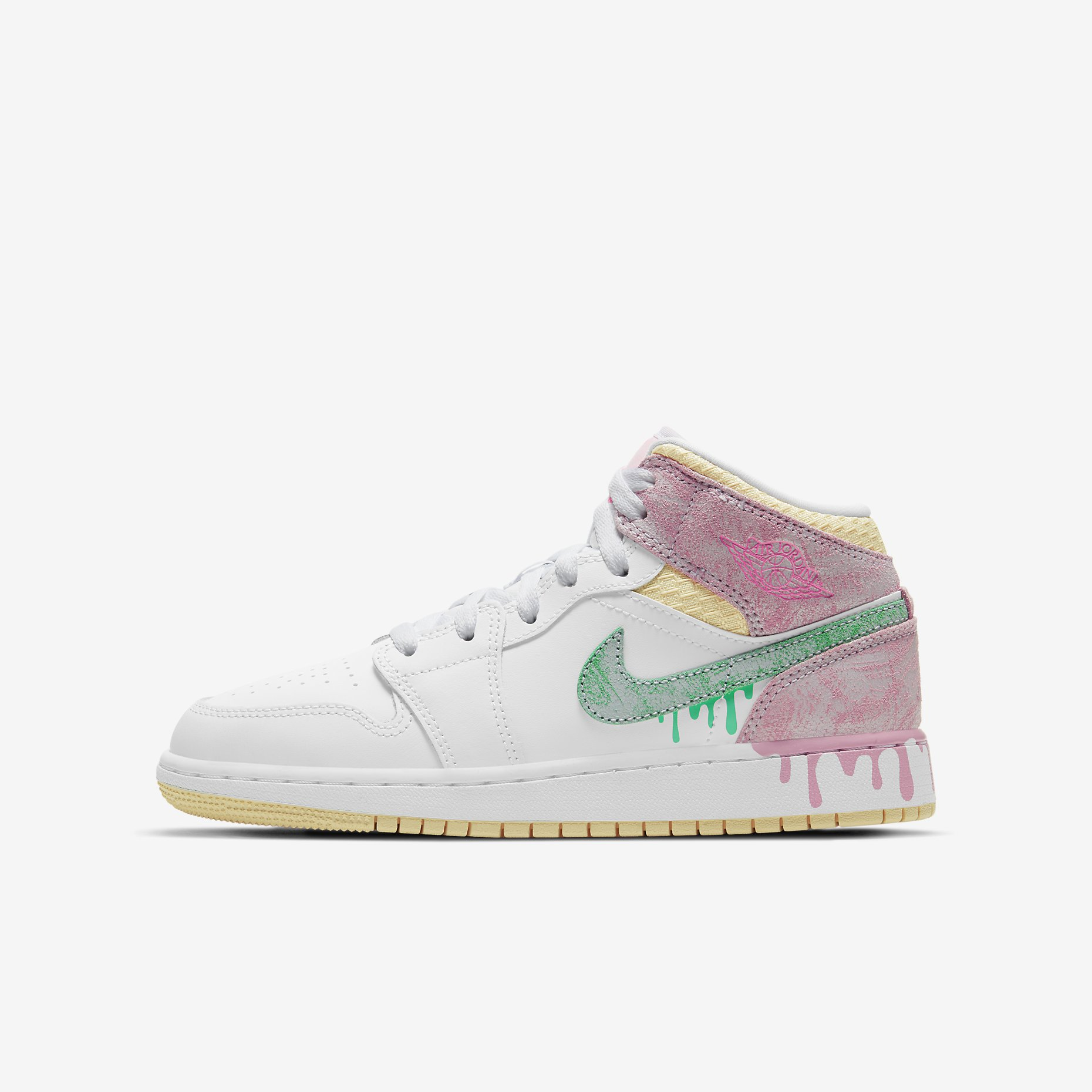 Air Jordan 1 Mid GS 'Paint Drip'}