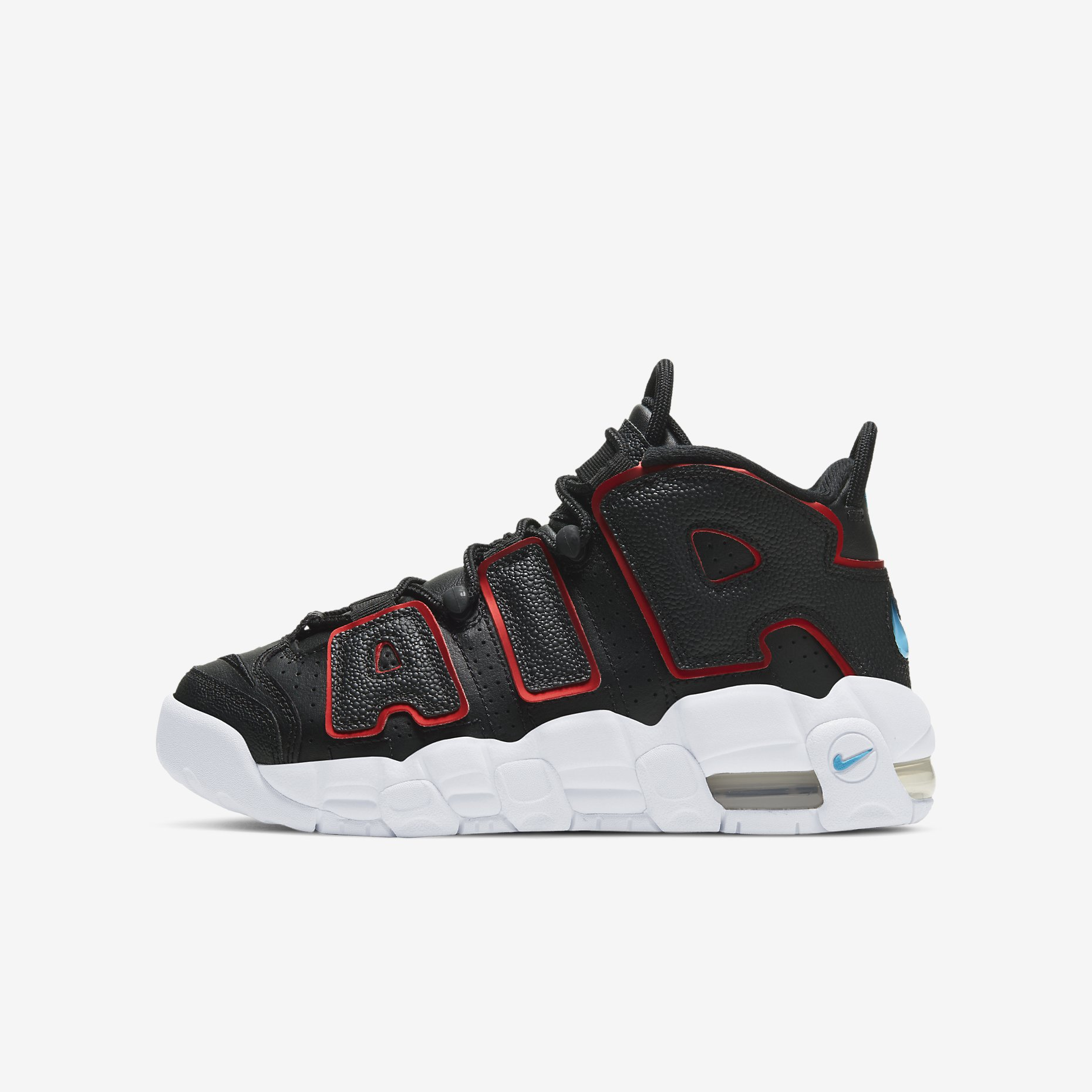 Nike Air More Uptempo GS 'Black/Fusion Red/Light Blue Fury'