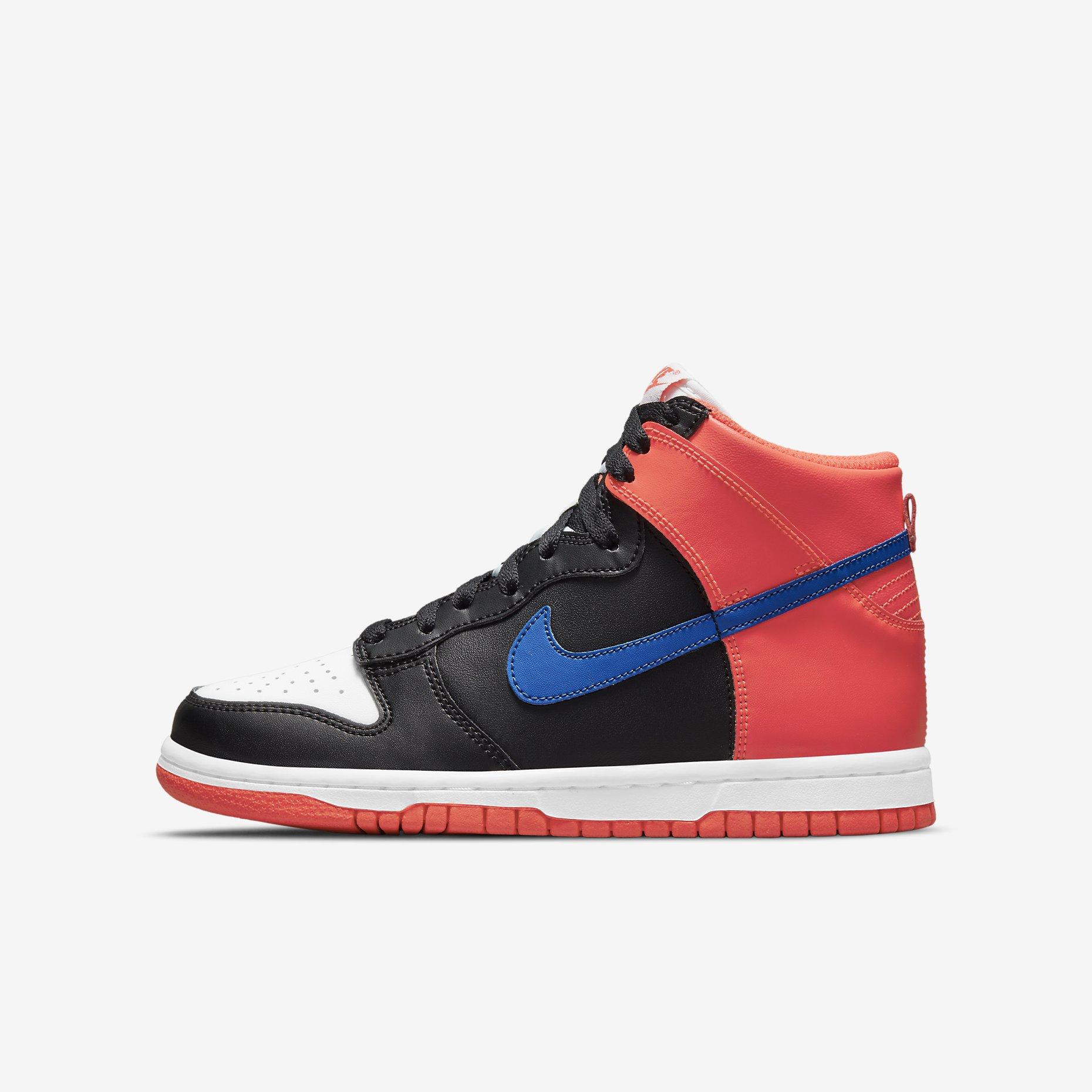 Nike Dunk High GS 'Black/Bright Crimson' - Knicks