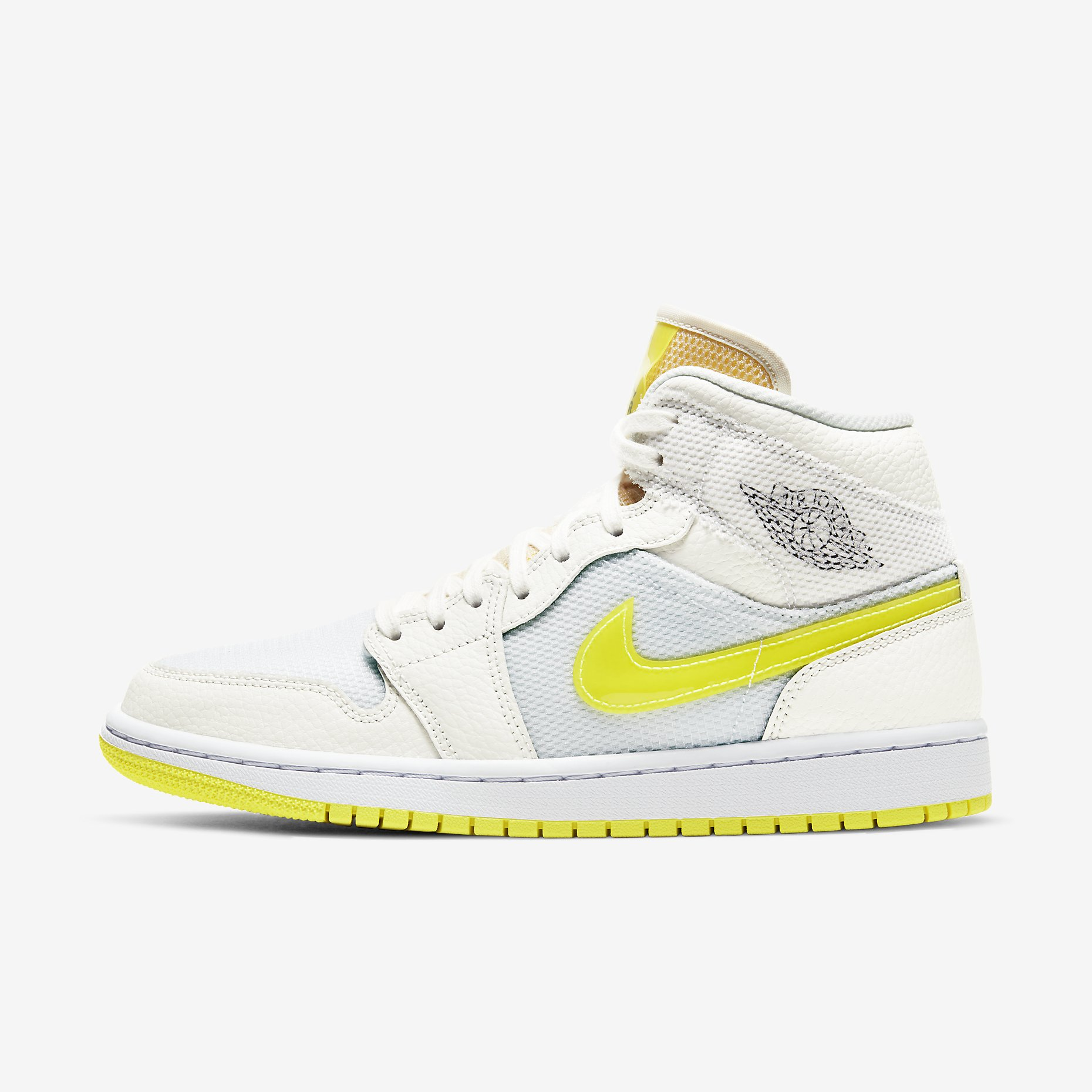 Women's Air Jordan 1 Mid SE 'Sail/Light Voltage Yellow'}