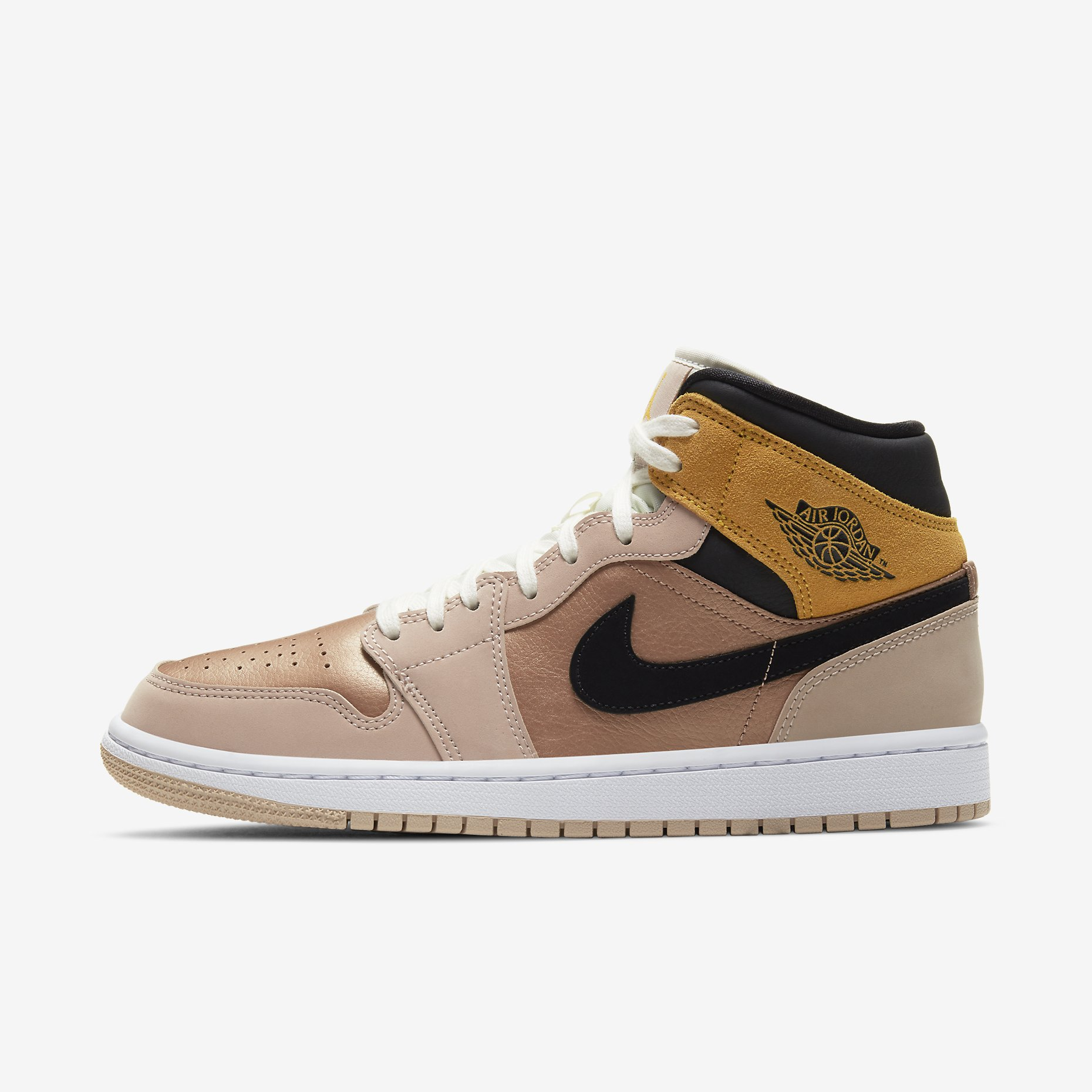 Women's Air Jordan 1 Mid SE 'Particle Beige' - Bronze Toe}